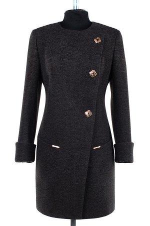 01-07446 Пальто женское демисезонное валяная шерсть темно-серый