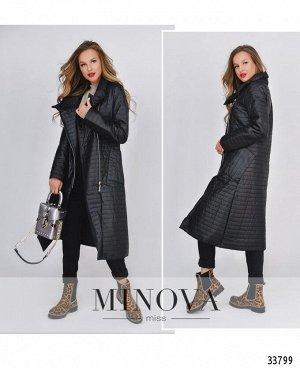 Пальто №1690-черный-полоска