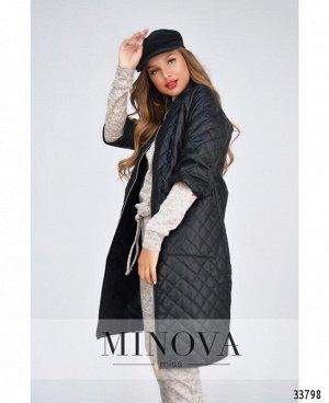 Пальто №1470-черный-ромб