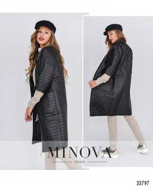 Пальто №1470-черный-полоска