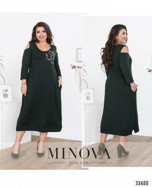 Платье №132-темно-зеленый