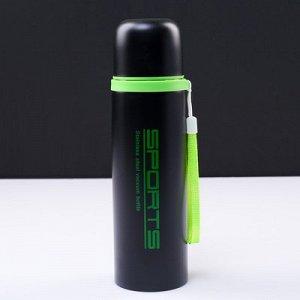 """Термос """"Спорт"""", 500 мл, сохраняет тепло 12 ч, чёрно-зеленый, 7х24 см микс"""