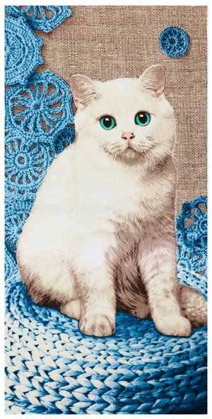 Полотенце вафельное банное Кошка