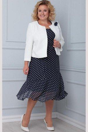 Жакет, платье LadisLine 1103 мелкий_горох