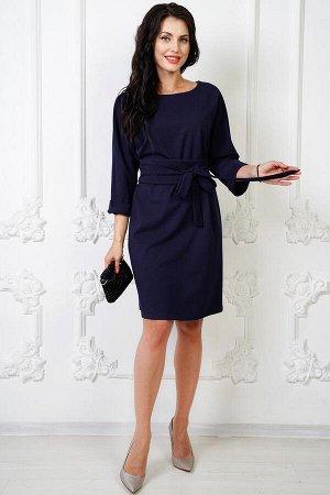 Платье Юми с пояском-кушаком (синее) П958-8