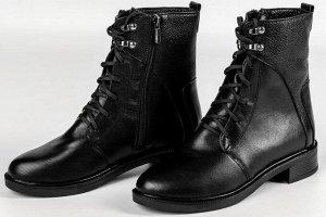 Ботинки Тип: ботинки и ботильоны  Подошва: ТЭП Сезон: демисезон Вид застежки: молния и шнурки Верх: натуральная кожа Подклад: байка