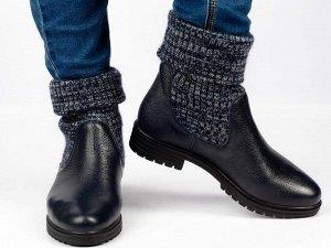Ботинки Тип: ботинки Подошва: ТЭП Сезон: демисезон, зима Вид застежки: без фурнитуры Верх: натуральная кожа и вязанка Подклад: байка, шерстяной вязаный мех