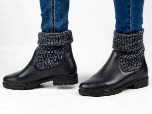 Ботинки Тип: ботинки Подошва: ТЭП Сезон: демисезон Вид застежки: без фурнитуры Верх: натуральная кожа и вязанка Подклад: байка