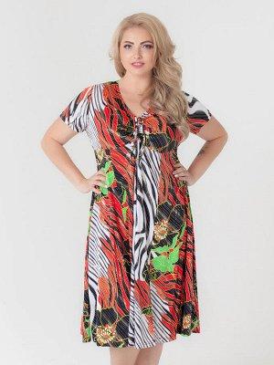 Платье Шэр Артикул: пл_шэр2_01крцв; Длина изделия, см: 112; Состав: 60% полиэстер, 35% вискоза, 5% эластан.; Цвет: красный цветы; Рукав: короткий Платье-миди для девушек Plus size. Лёгкое, струящееся