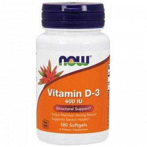 Now Foods, Витамин D-3, 400 МЕ, 180 мягких таблеток
