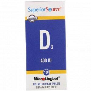 Superior Source, MicroLingual, Витамин D3, 400 IU, 100 таблеток