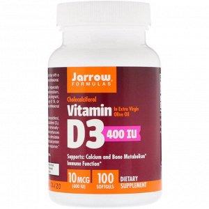 Jarrow Formulas, Витамин D3, Холекальциферол, 400 МЕ, 100 гелевых капсул