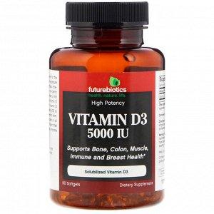FutureBiotics, Vitamin D3, 5,000 IU, 90 Softgels