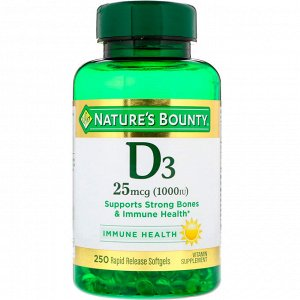 Nature&#x27 - s Bounty, D3, 25 мкг (1000 МЕ), 250 мягких таблеток ускоренного высвобождения