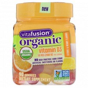 VitaFusion, Organic Vitamin D3, Citrus & Berry, 50 mcg (2000 IU), 90 Gummies