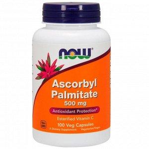Now Foods, Аскорбил пальмитат, 500 мг, 100 растительных капсул