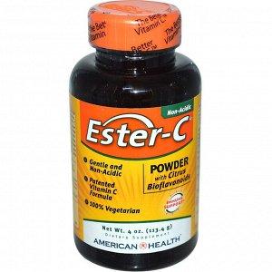 American Health, Ester-C, порошок с цитрусовыми биофлавоноидами, 113,4 г (4 унции)