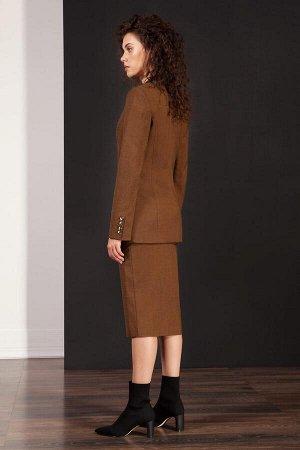 Юбка миди Полиэстер 63%, вискоза 32%, спандекс 5% Рост: 170 см. Элегантная юбка-карандаш из меланжевой ткани на широком поясе-кокетке. Застежка в среднем шве сзади на потайную молнию. Юбка на подкладк