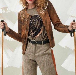 Кожаная куртка, коричневая