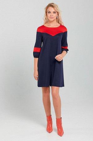 Платье Платье женское из трикотажного полотна, А-образного силуэта, без застежки и подклада. Кокетка и вставки рукавов из контрастной ткани. Рукав 3/4 по низу с небольшой сборкой. Спинка со средним шв