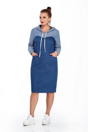 Платье Платье TEZA 240  Состав ткани: Хлопок-96%; Эластан-4%;  Рост: 164 см.  Платье прямого силуэта с втачными рукавами. Платье двух цветное; капюшон, кокетки и рукава из контрастной ткани. По спинк