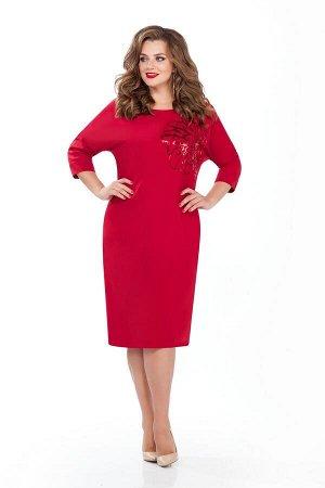 Платье Платье TEZA 125 красное  Состав ткани: Вискоза-20%; ПЭ-76%; Эластан-4%;  Рост: 164 см.  Элегантное платье с целнокроенным рукавом, длиной три четверти. Спинка со средним швом. Горловина спинки