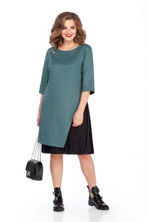 Платье Платье TEZA 129 зелено-черное  Состав ткани: Вискоза-30%; ПЭ-36%; Хлопок-30%; Эластан-4%;  Рост: 164 см.  Платье прямого силуэта. По спинке обработана застежка с металлической молнией. Перед с