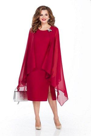 Платье Платье TEZA 233 бордо  Состав ткани: Вискоза-20%; ПЭ-80%;  Рост: 164 см.  Платье приталенного силуэта. Спинка со средним швом с молнией. По переду рельефы, с левой стороны с высоким разрезом.