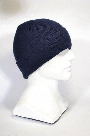 114x10 Глубокая, шапка 60 -62 см т.синий Полный подклад флис - Шерсть 50% - Акрил 50% !!! Может идти без этикетки и индивидуальной упаковки !!!