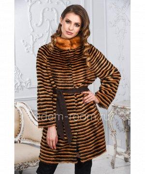 Женское меховое пальто из меха норкиАртикул: M-17014-OR-CH