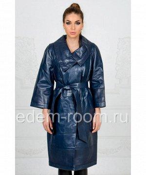 Синий кожаный плащАртикул: FL-078-SI