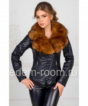 Куртка из эко-кожи с меховым воротникомАртикул: RS-216-CH