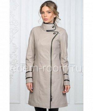 Удобный кожаный плащ серого цветаАртикул: T-I-1515-B