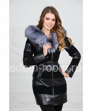 Комбинированная кожаная куртка с меховым капюшономАртикул: F-1605-CH