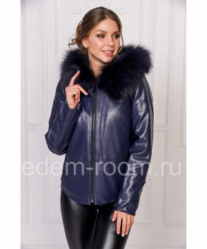 Женская куртка из искусственной кожи с капюшономАртикул: RS-732-SN