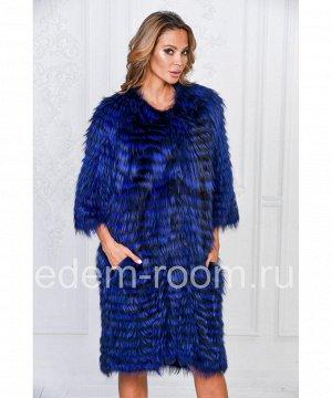 Синее меховое пальто из лисыАртикул: RE-3041-SI