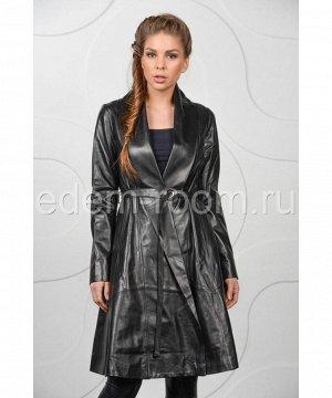 Длинный кожаный плащ на ремне для женщинАртикул: M-15128-1