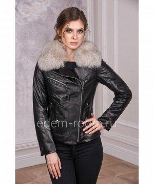 Кожаная куртка - косуха с мехом песцаАртикул: DJ-6773-CH-B