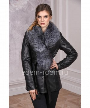 Женская кожаная куртка с меховым воротникомАртикул: DJ-8802-CH