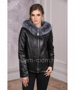 Весенняя кожаная куртка с капюшономАртикул: TG-8801-CH-CH