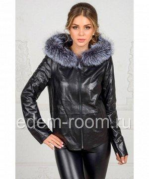 Чёрная утеплённая куртка из кожиАртикул: TG-717-CH