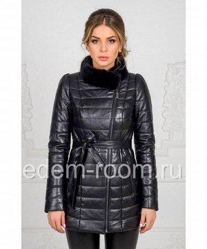 Простроченная кожаная куртка на синтепонеАртикул: HC-7120-CH