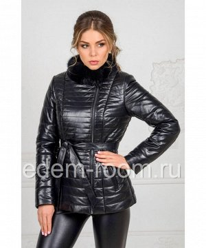 Куртка из кожи воротник из меха норкиАртикул: HC-6377-CH