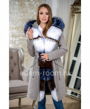 Яркая парка - пальто с мехом на утеплителеАртикул: W-539-95-BG-P