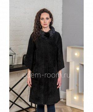 Замшевое пальто украшенное мехом норкиАртикул: H-2508-95-CH-N