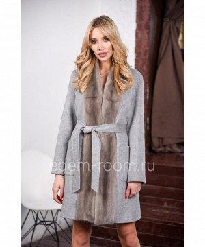 Демисезонное пальто с мехом норкиАртикул: L-9104-90-SR-N