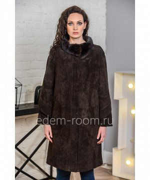 Демисезонное пальто из натуральной замшиАртикул: H-2508-95-KR-N