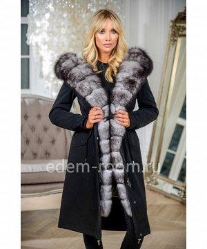 Парка-пальто из итальянской ткани с капюшоном из песцаАртикул: V-19089-110-CH-P