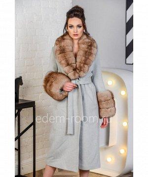 Демисезонное пальто с мехом песцаАртикул: N-5169-120-SR-P