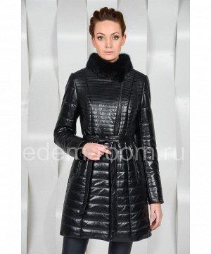 Кожаное пальто с мехом норкиАртикул: HC-6375-CH